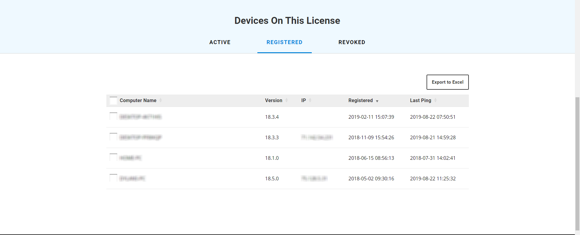 Registered devices on open license in Bluebeam Revu