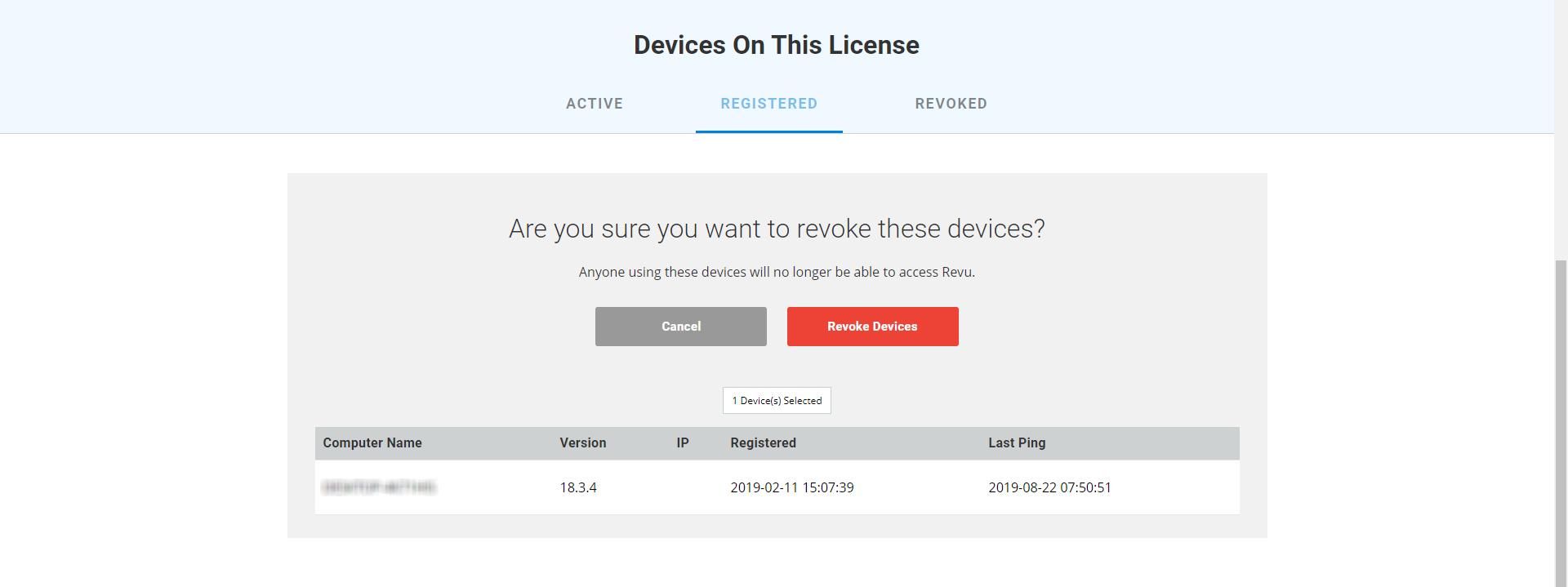 Revoke devices for open license in Bluebeam Revu