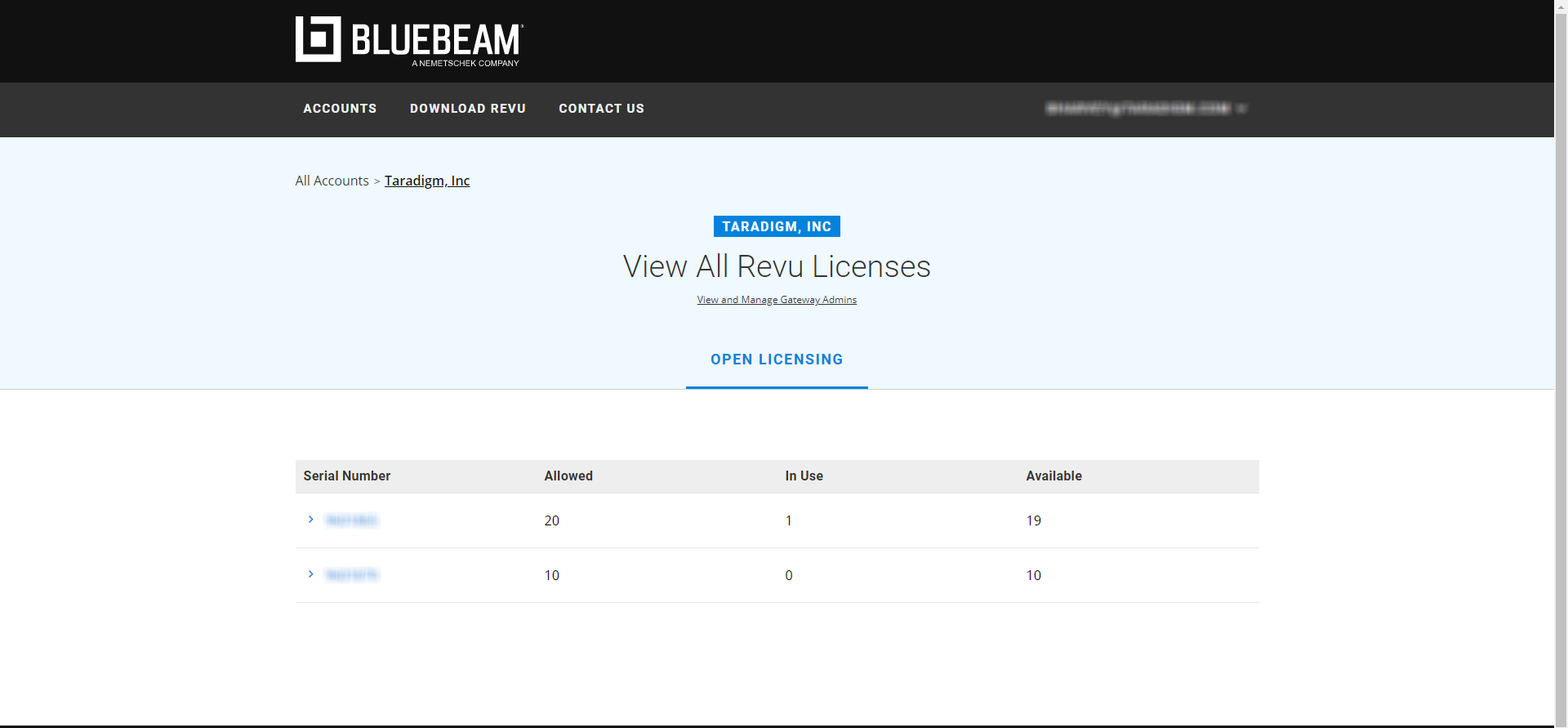 Bluebeam Gateway webpage to view open licenses for Bluebeam Revu